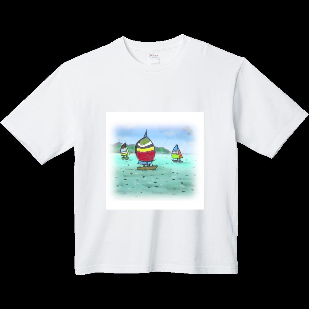 ビックシルエットTシャツ  デジタル墨絵ヨット ヘビーウェイト ビッグシルエットTシャツ
