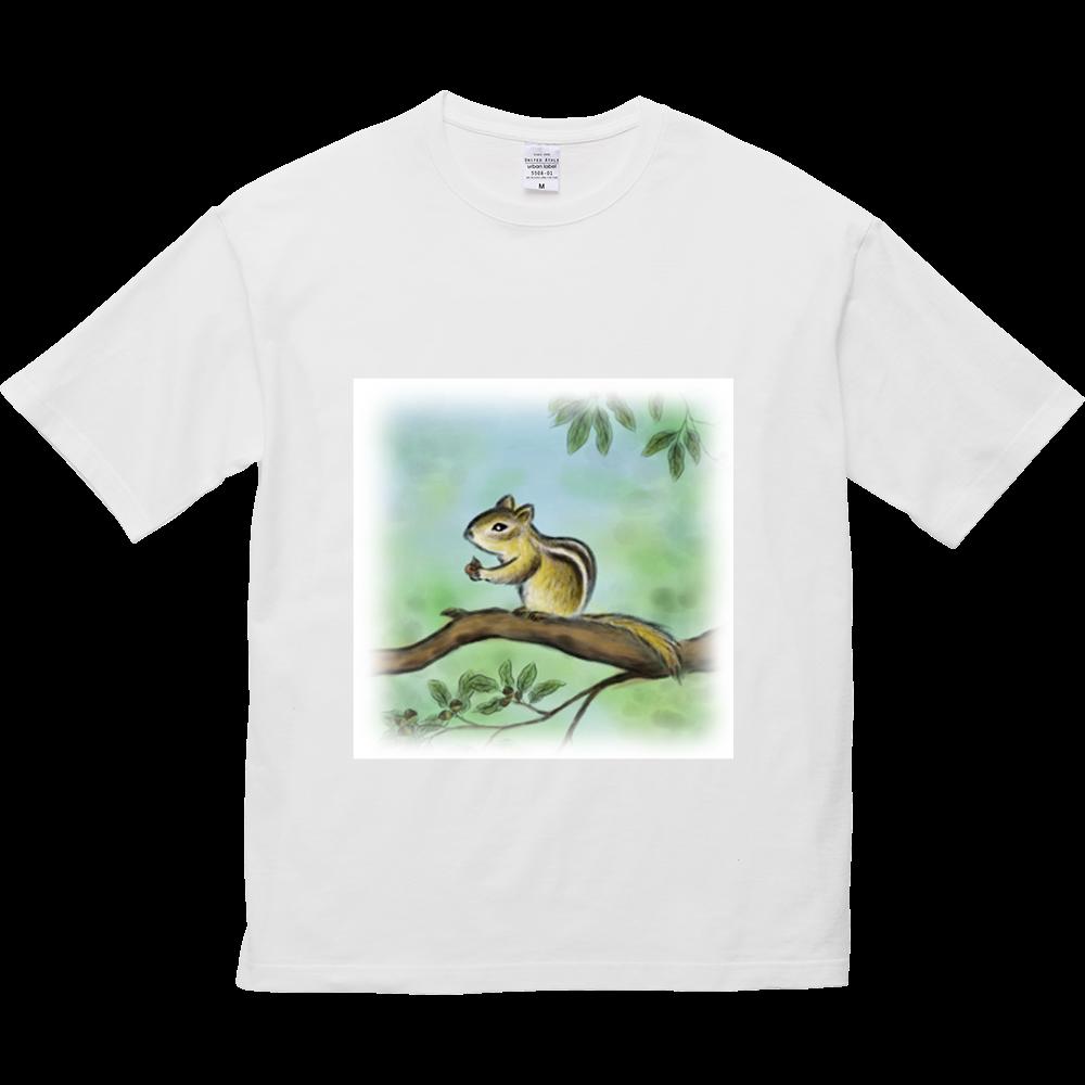5.6オンスビックシルエットTシャツ デジタル墨絵リス 5.6オンス ビッグシルエット Tシャツ