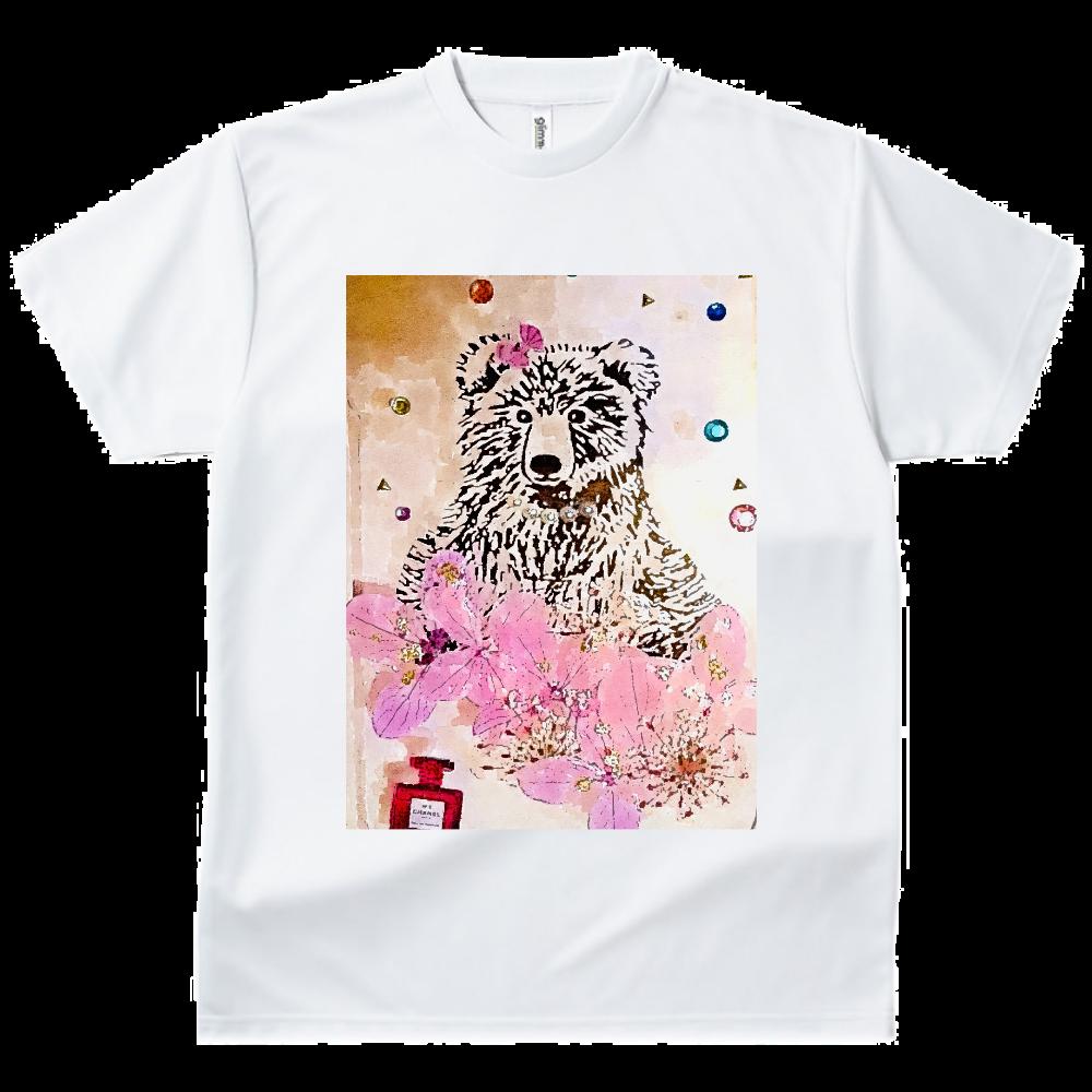 熊のお嬢肖像画風 ドライTシャツ