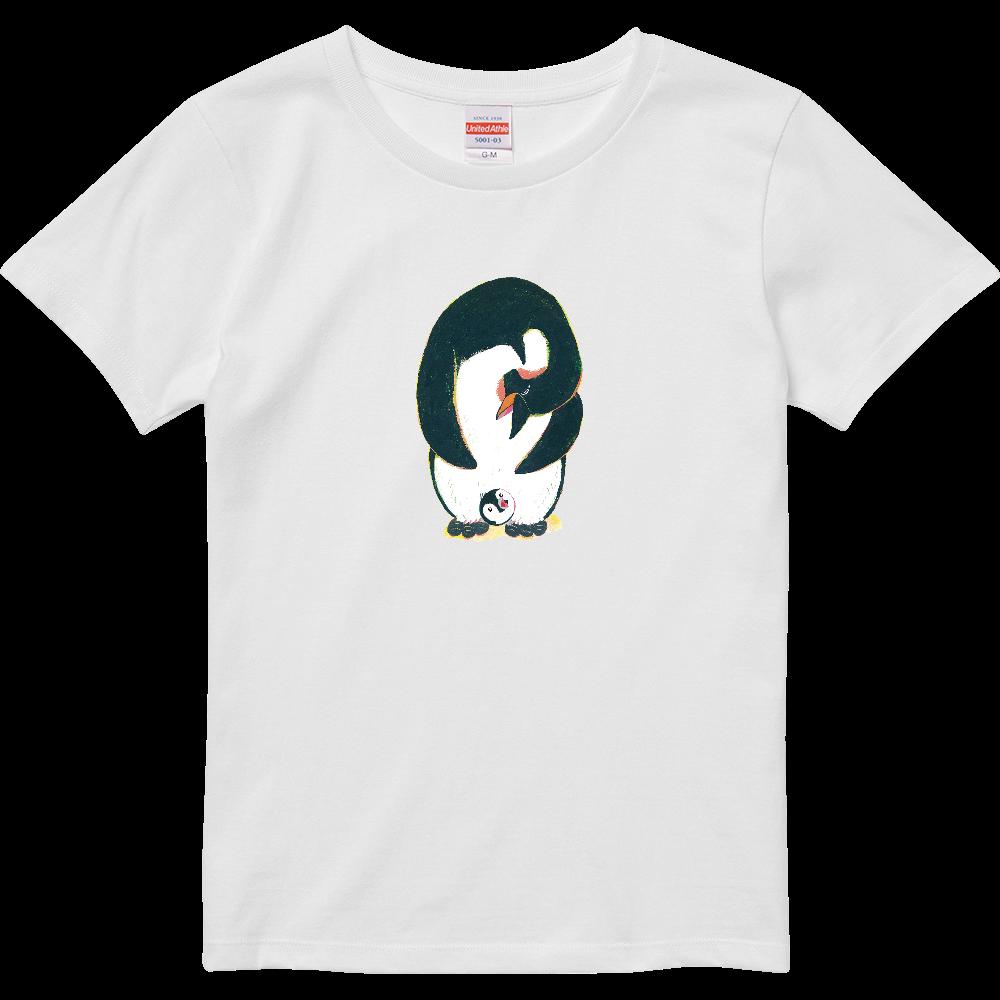 ペンギンの親子-01 ハイクオリティーTシャツ(ガールズ)