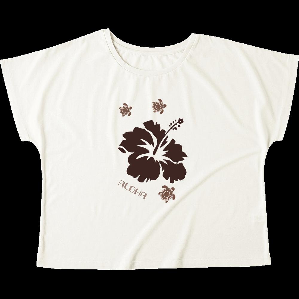 ハイビスカスと泳ぐカメ Tシャツ ウィメンズ ドルマン Tシャツ