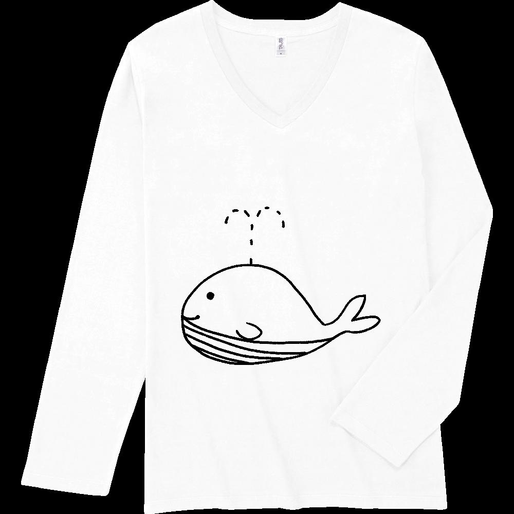 クジラの落書き スリムフィット VネックロングスリーブTシャツ