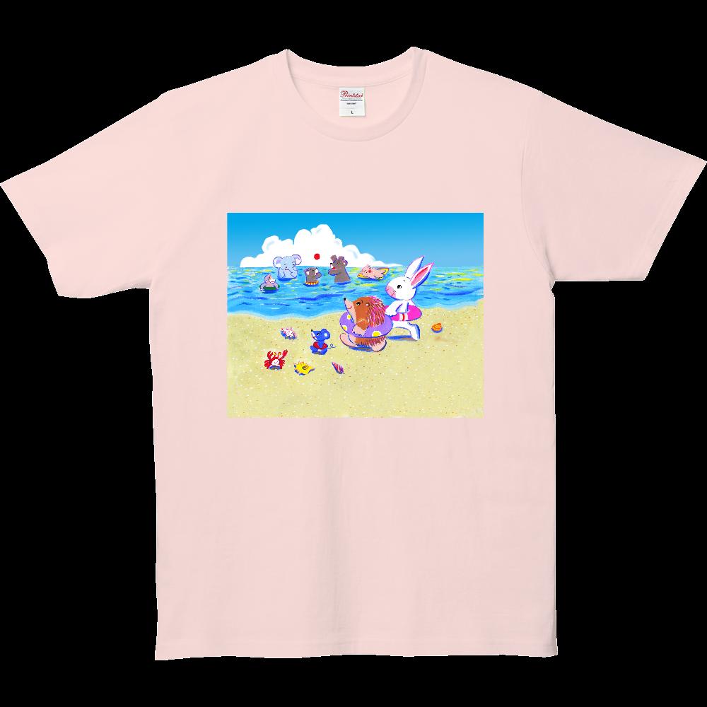 うさぎさんとハリモグラくんの海水浴 5.0オンス ベーシックTシャツ(キッズ)