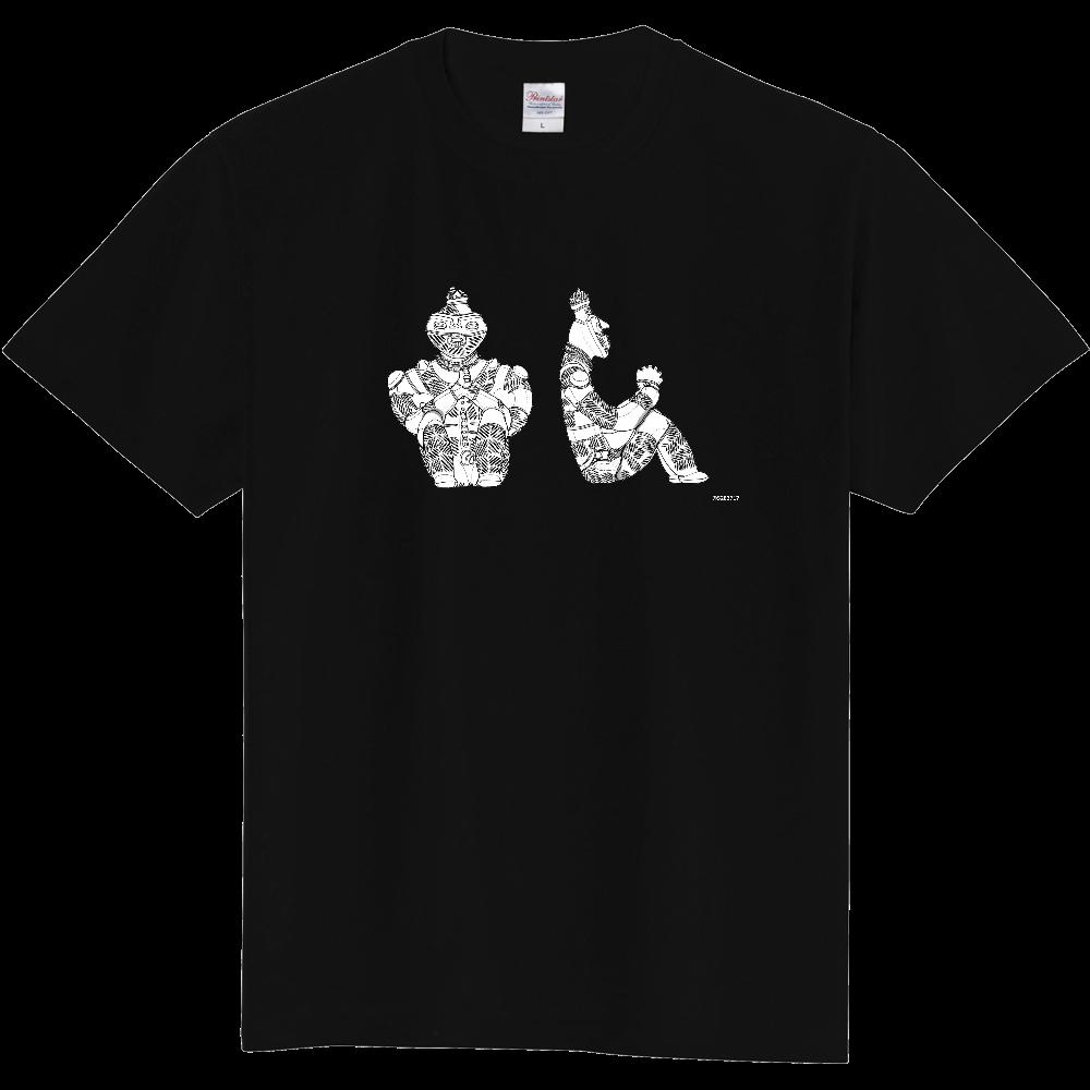 [縄文土偶Tシャツ]国宝「合掌土偶」正面図・右側面図[ベタなし] 定番Tシャツ