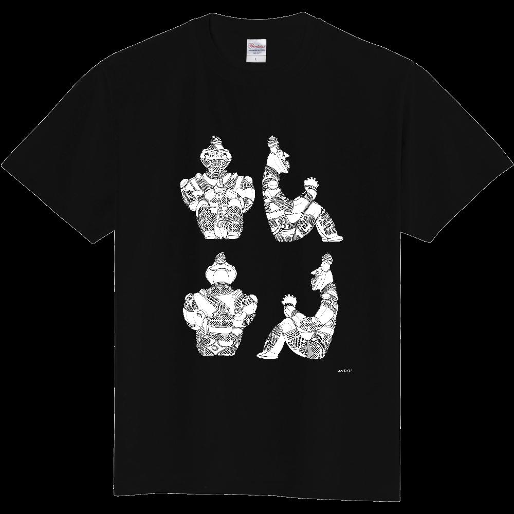 [縄文土偶Tシャツ]国宝「合掌土偶」正面図・右側面図・左側面図・背面図[縦ベタなし] 定番Tシャツ