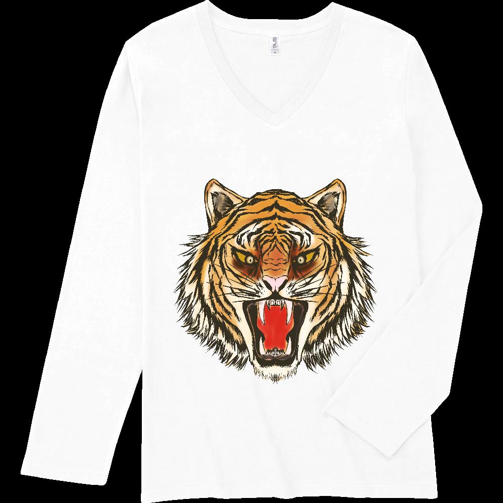虎の顔 スリムフィット VネックロングスリーブTシャツ