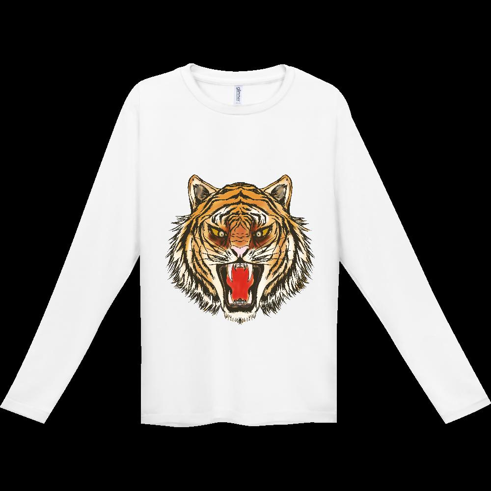 虎の顔 インターロック ドライ長袖Tシャツ