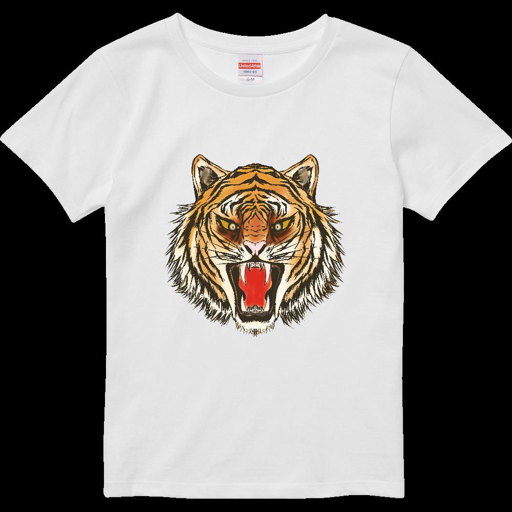 虎の顔 ハイクオリティーTシャツ(ガールズ)