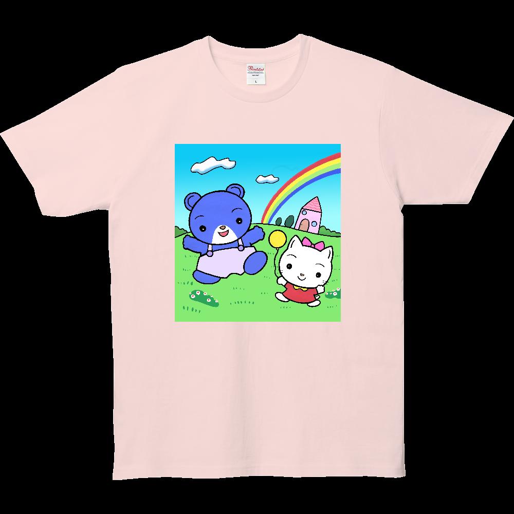 クマくんとネコさん 5.0オンス ベーシックTシャツ(キッズ)