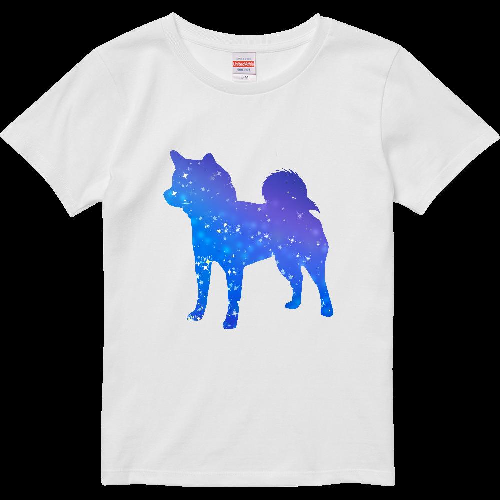 星屑の柴犬シルエット ハイクオリティーTシャツ(ガールズ)