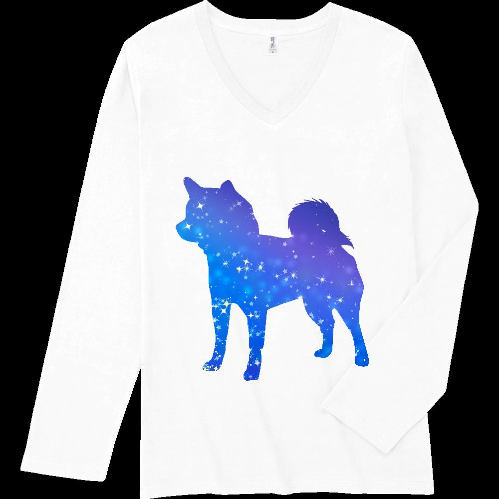 星屑の柴犬シルエット スリムフィット VネックロングスリーブTシャツ