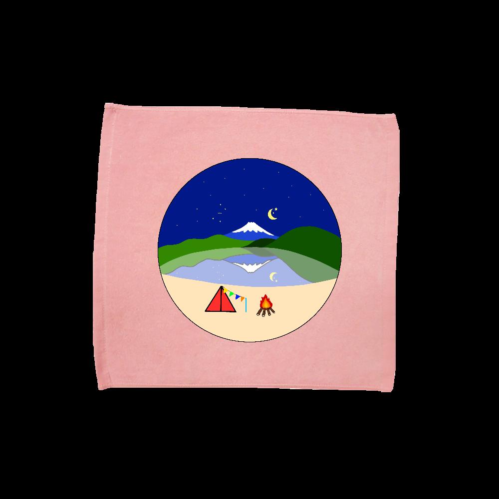 本栖湖の富士山と星 ハンドタオル