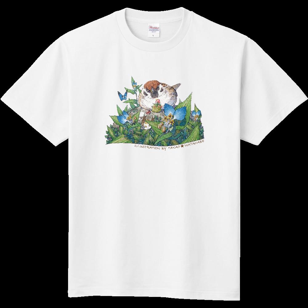 雀とツユクサ  Tシャツ(サイン黒ver) 定番Tシャツ