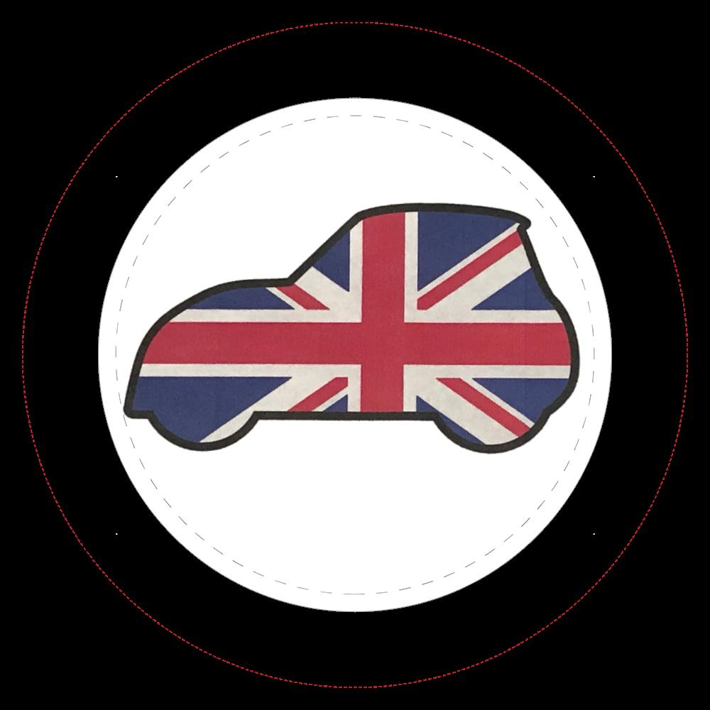 英国旗車イラスト缶バッチ  44㎜缶バッジ