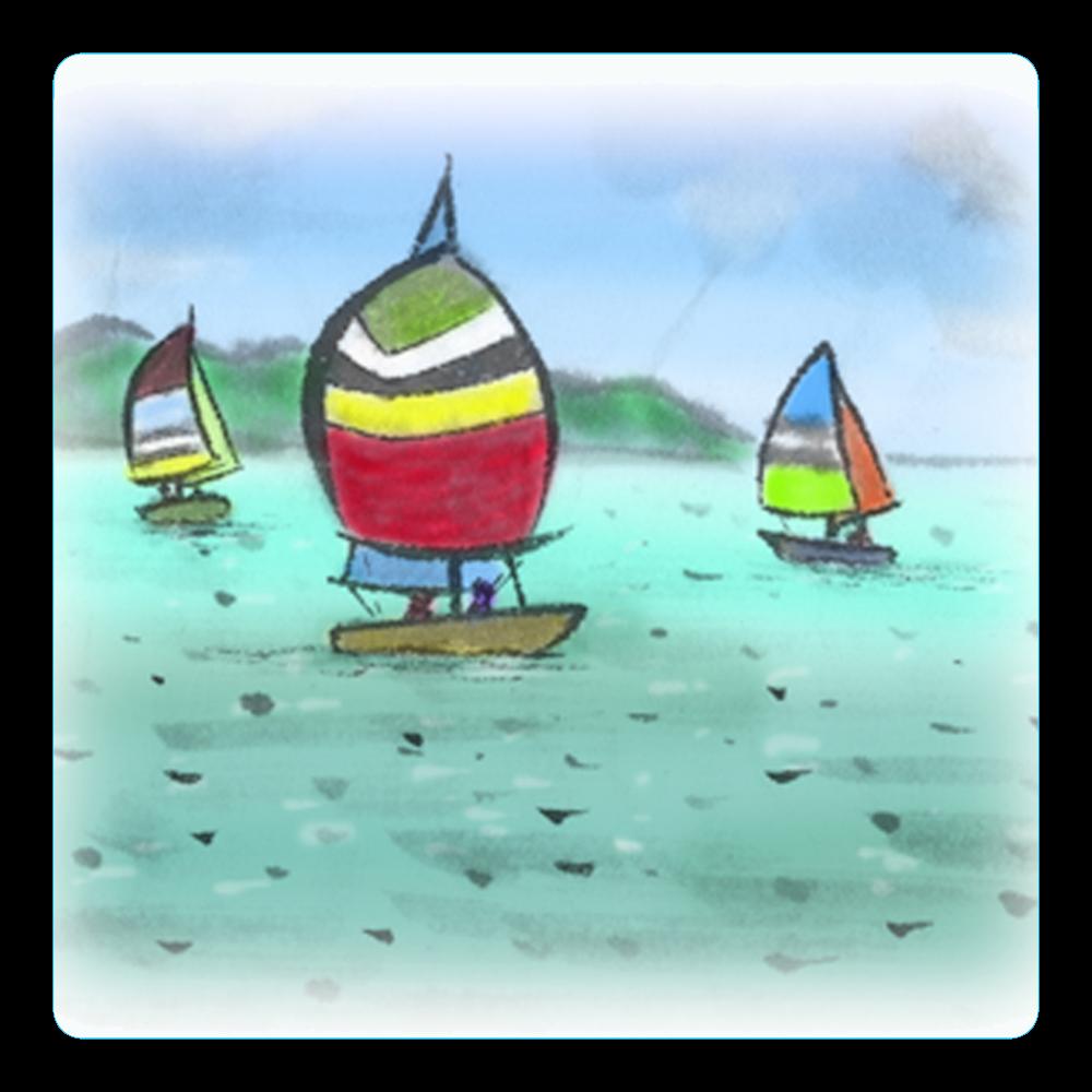アクリルコースター(四角)デジタル墨絵ヨット アクリルコースター(四角)