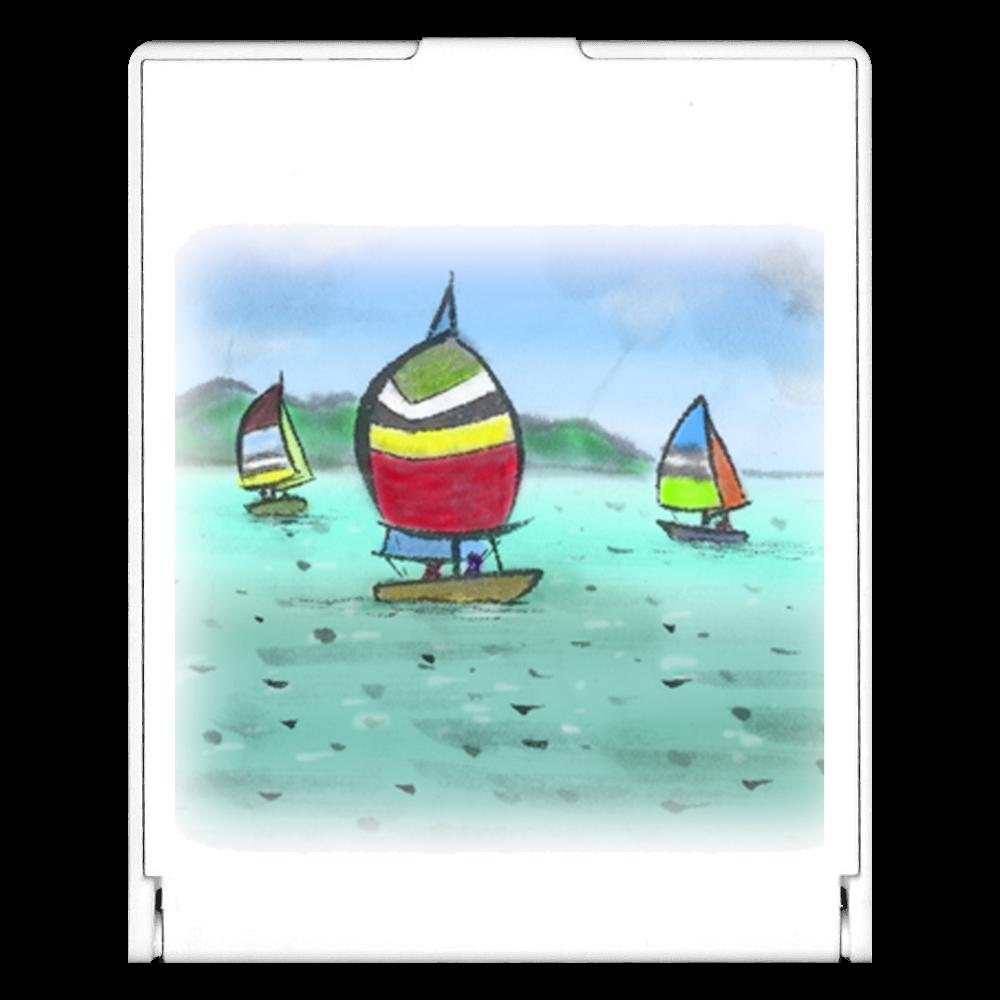 スクエアミラー デジタル墨絵ヨット スクエアミラー