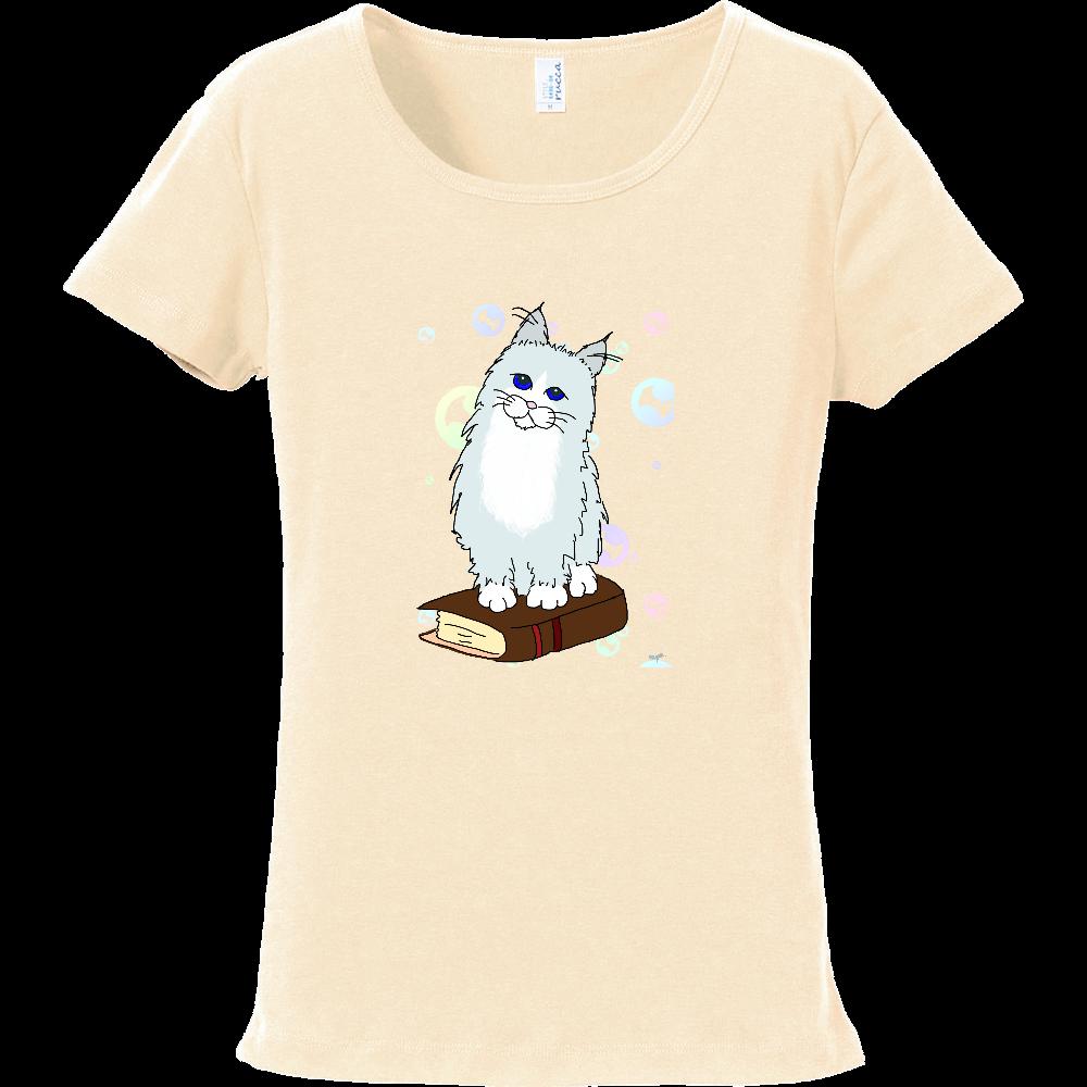 こねこ(long)とシャボン玉 フライスTシャツ