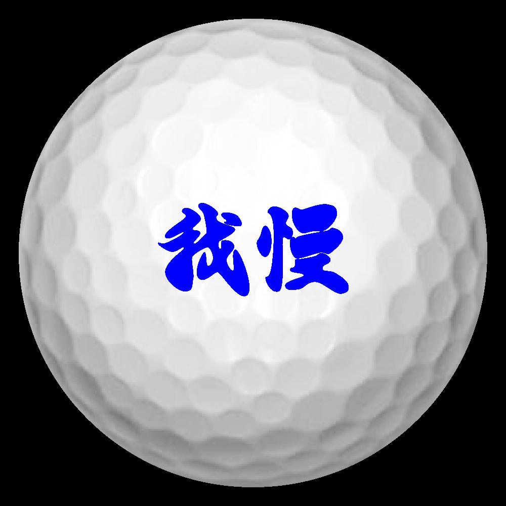 我慢(ブルー) ゴルフボール(3個セット)