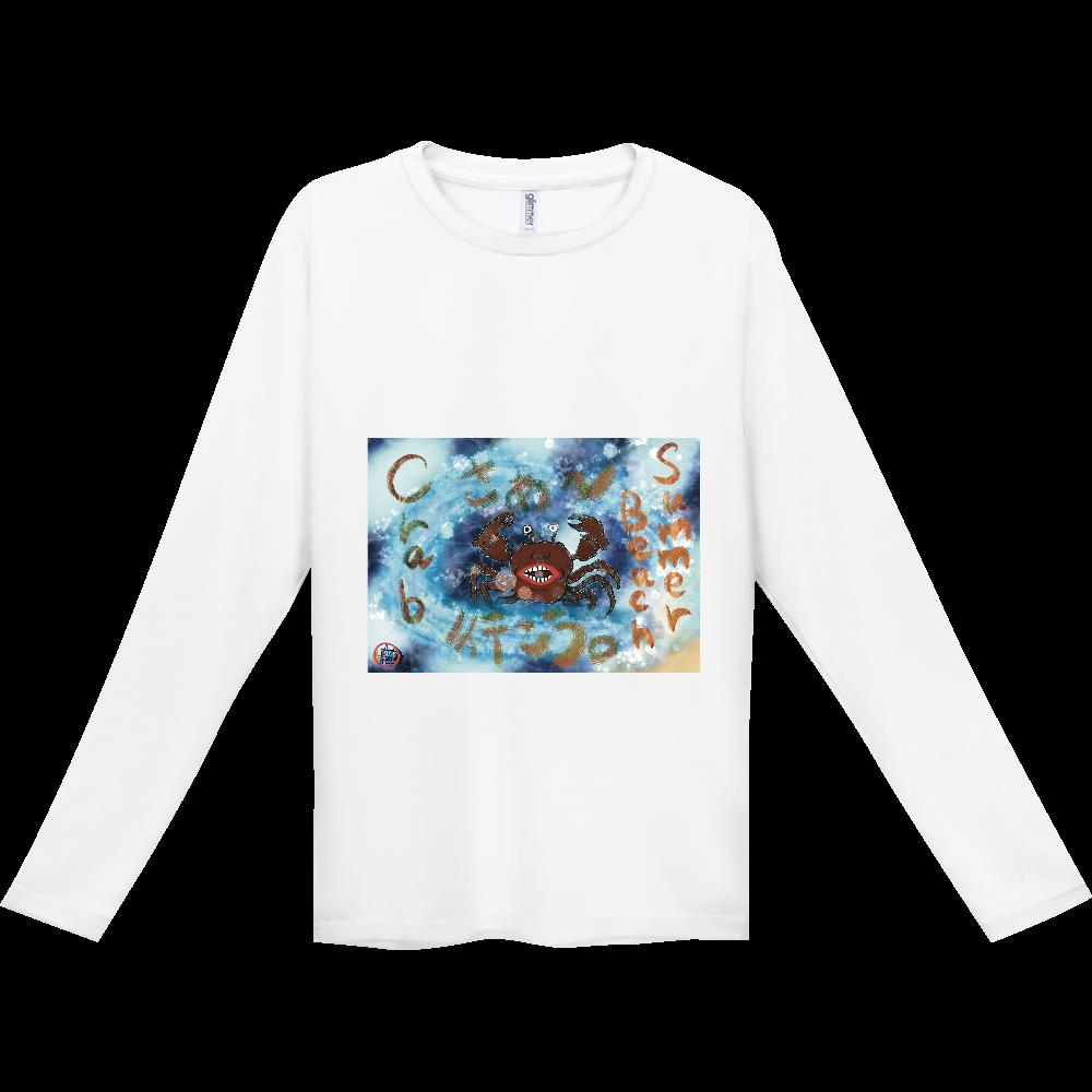夏のビーチ「カニ」 ORILAB MARKET.Version.2 インターロック ドライ長袖Tシャツ