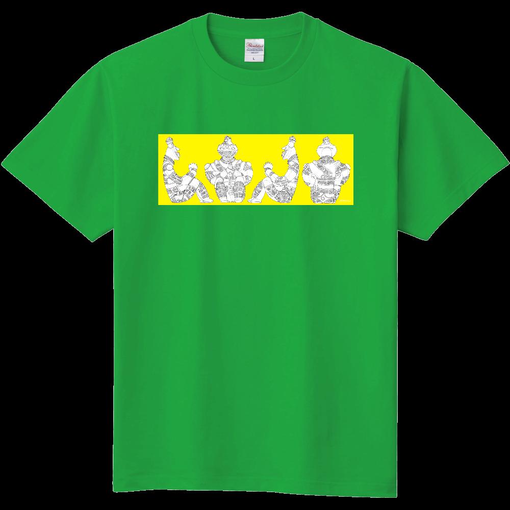 [縄文土偶Tシャツ]国宝「合掌土偶」正面図・右側面図・左側面図・背面図[横組黄ベタ] 定番Tシャツ
