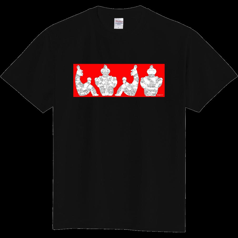 [縄文土偶Tシャツ]国宝「合掌土偶」正面図・右側面図・左側面図・背面図[横組赤ベタ] 定番Tシャツ