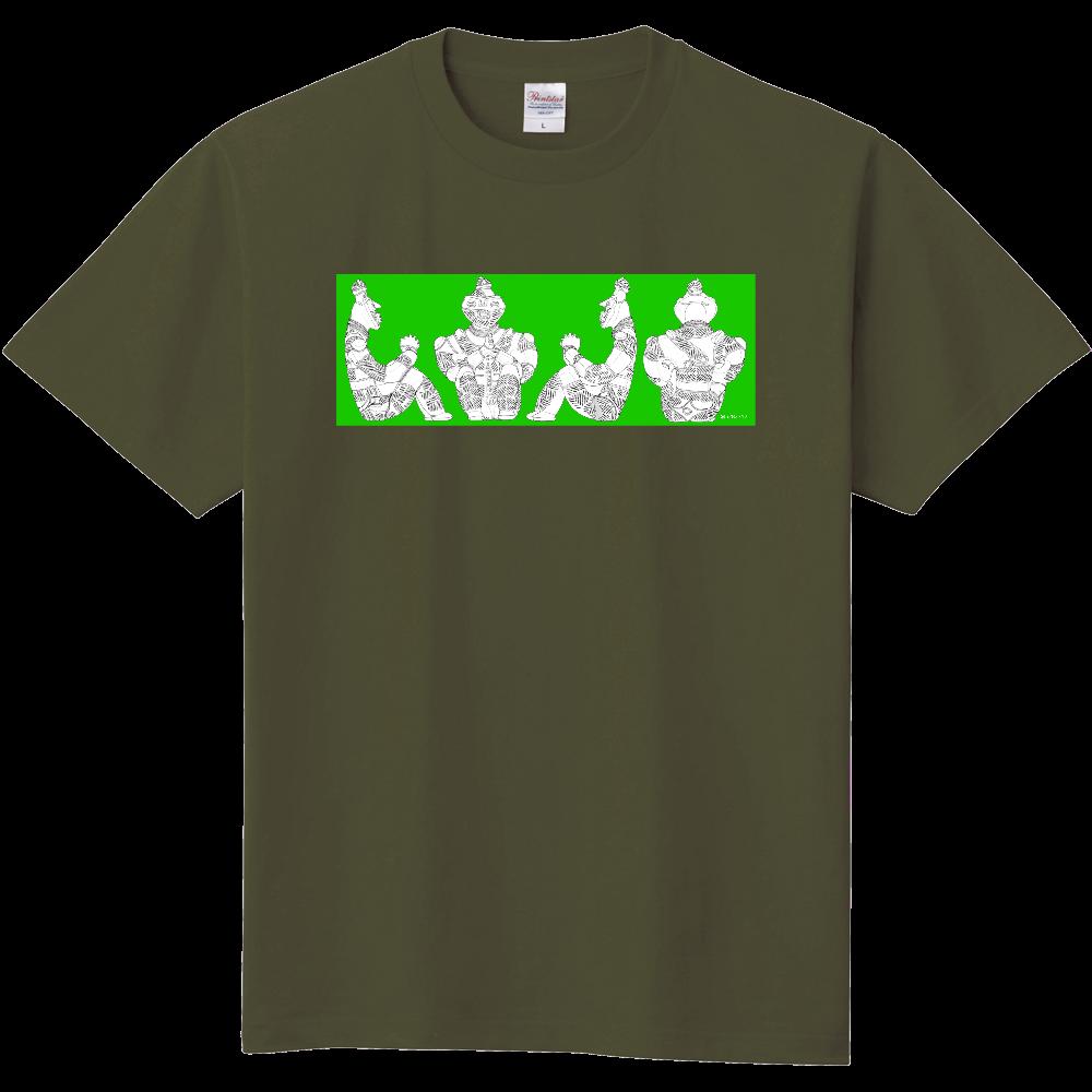 [縄文土偶Tシャツ]国宝「合掌土偶」正面図・右側面図・左側面図・背面図[横組緑ベタ] 定番Tシャツ