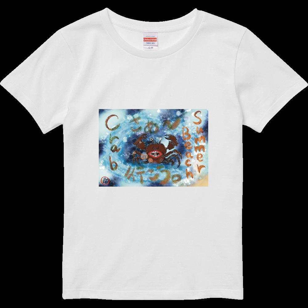 夏のビーチ「カニ」 ORILAB MARKET.Version.4 ハイクオリティーTシャツ(ガールズ)