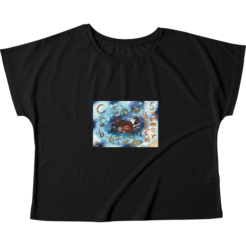 夏のビーチ「カニ」 ORILAB MARKET.Version.4 ウィメンズ ドルマン Tシャツ