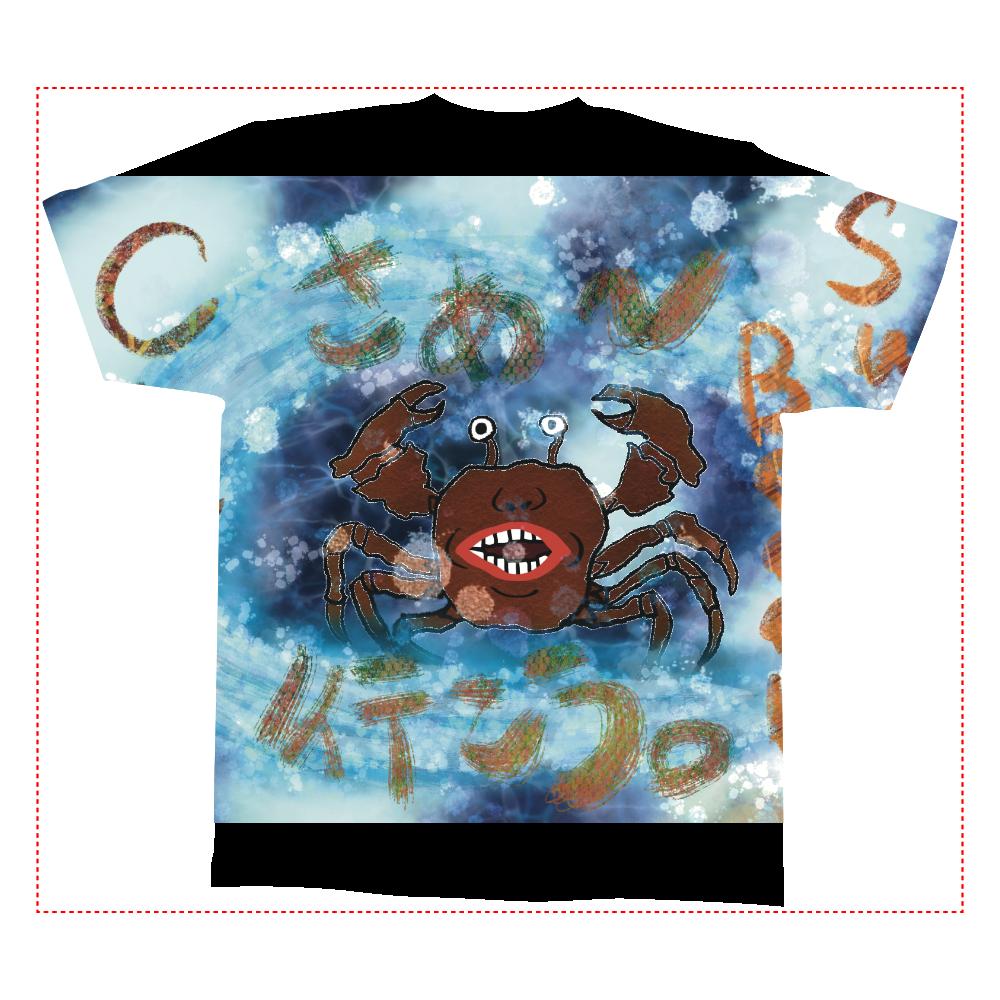 夏のビーチ「カニ」 ORILAB MARKET.Version.4 全面インクジェットTシャツ(M)