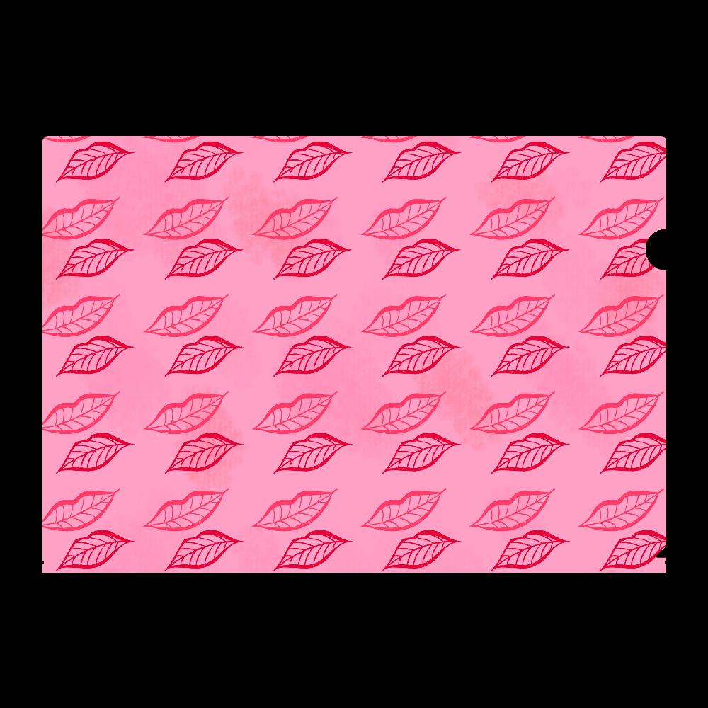 落ち葉柄 ピンク A4フルグラフィッククリアファイル