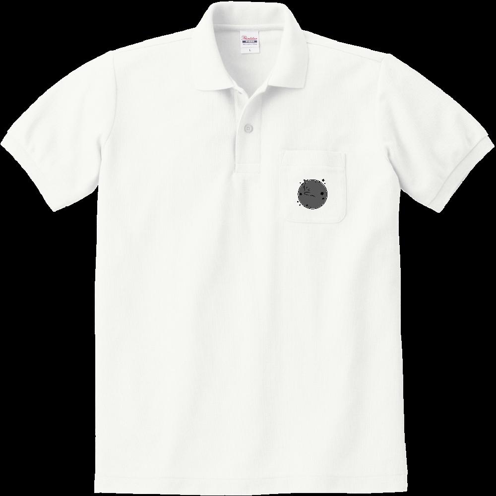 アンモナ(ニャ)イト・黒 定番ポロシャツ(ポケット付き) 定番ポロシャツ(ポケット付き)