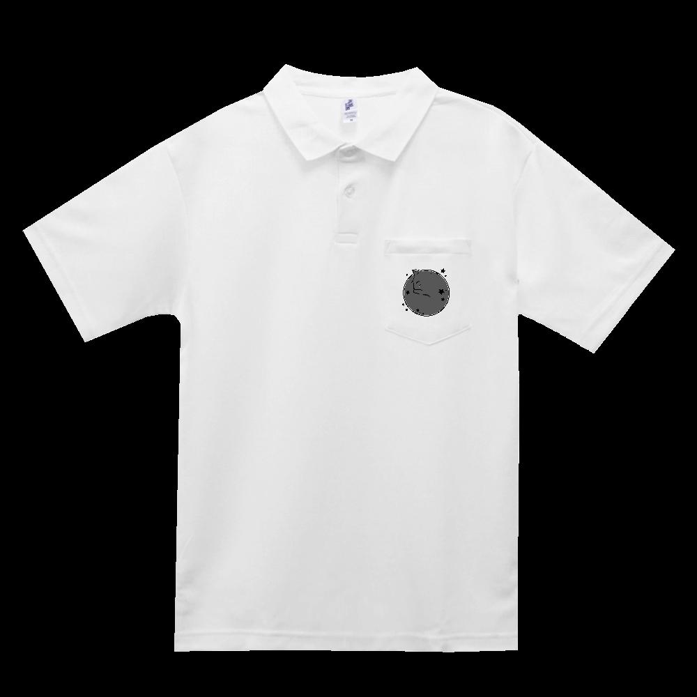 アンモナ(ニャ)イト・黒 ポケット付きアクティブポロシャツ ポケット付きアクティブポロシャツ