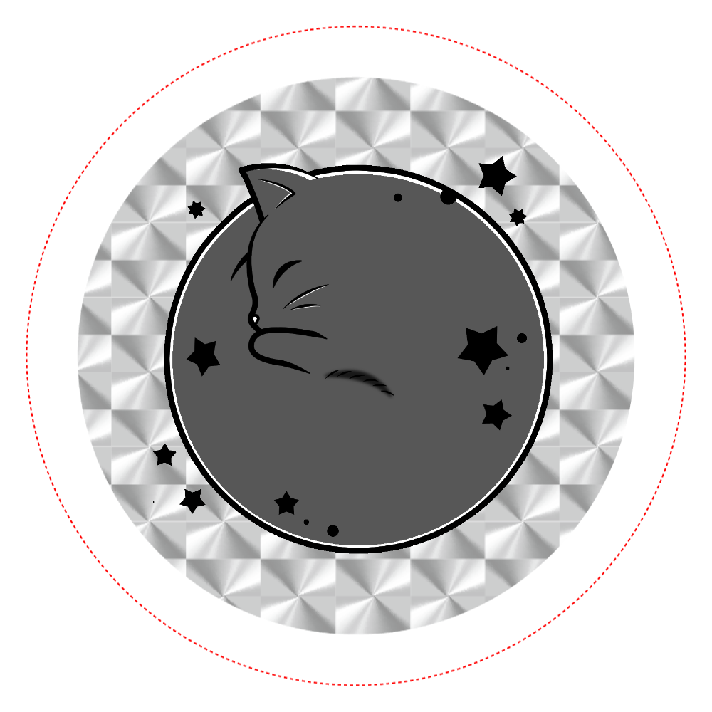 アンモナ(ニャ)イト・黒 ホログラムオリジナル缶バッジ(44mm) ホログラムオリジナル缶バッジ(44mm)
