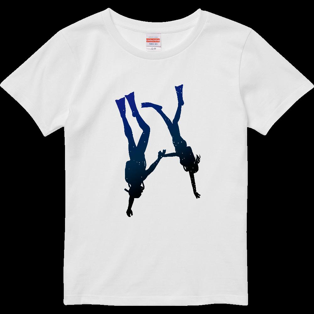 Tシャツを潜るダイバー ハイクオリティーTシャツ(ガールズ)