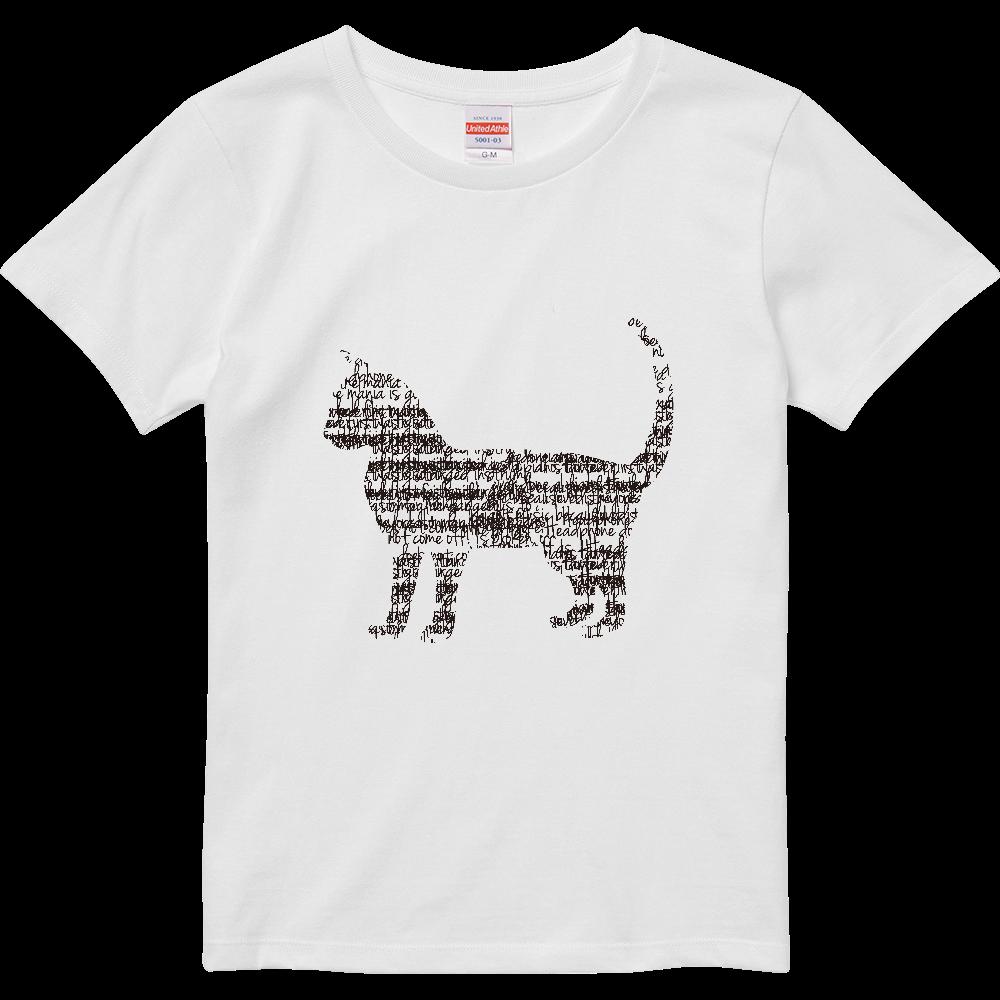文字が集まってできた猫 ハイクオリティーTシャツ(ガールズ)