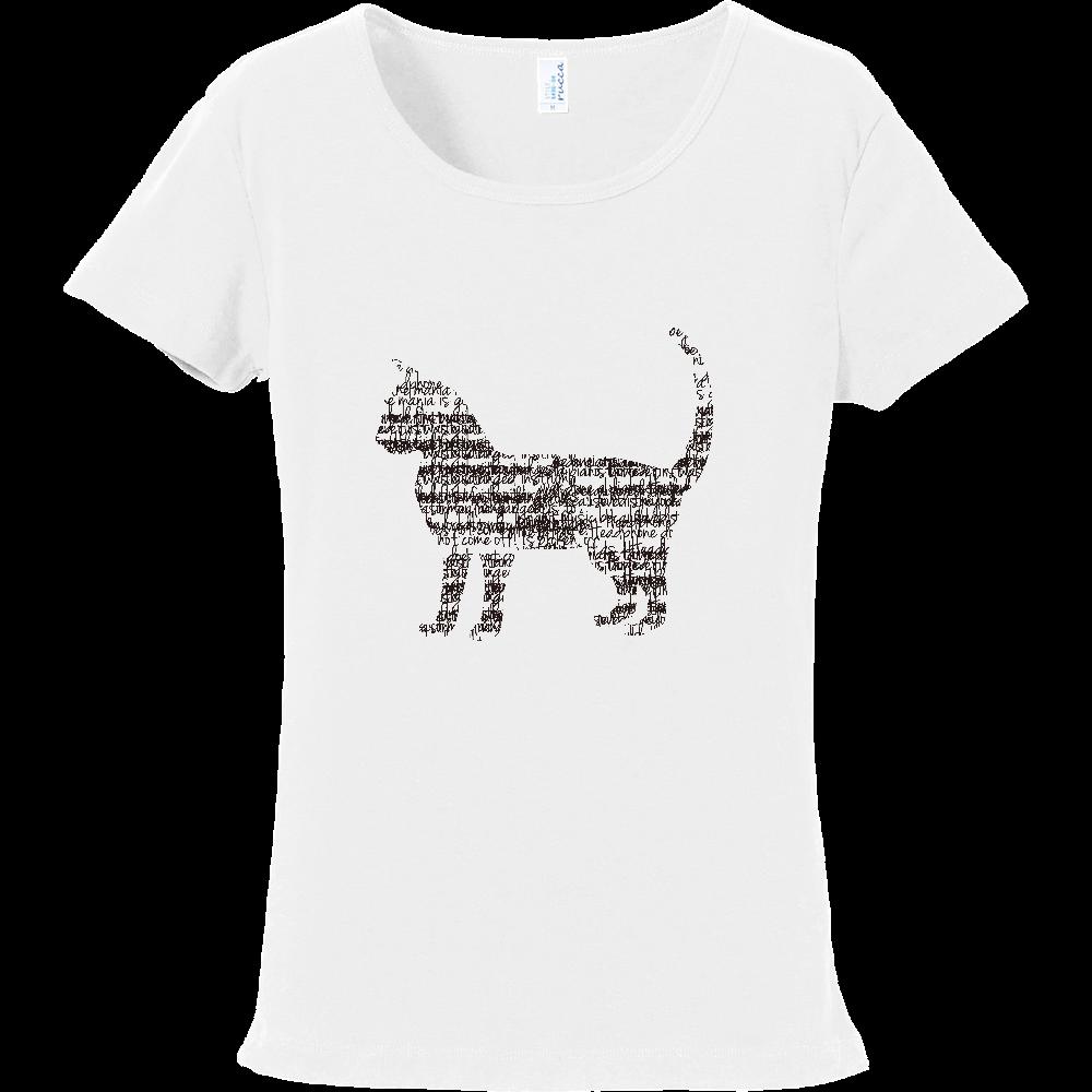 文字が集まってできた猫 フライスTシャツ