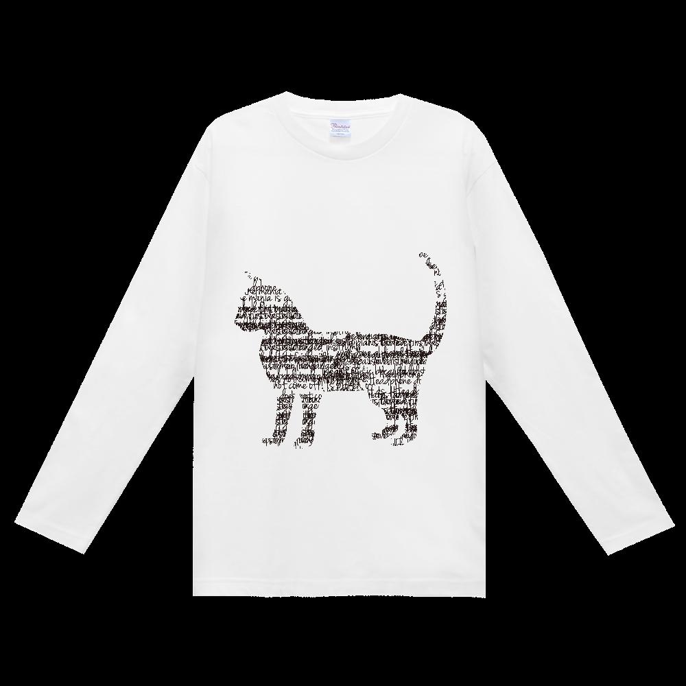 文字が集まってできた猫 ヘビーウェイト長袖Tシャツ