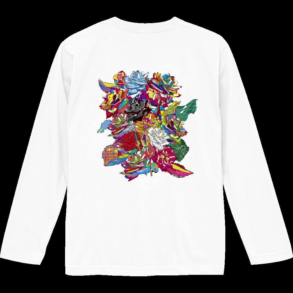 花シリーズ 薔薇 バックプリント ロンT ロングスリーブTシャツ