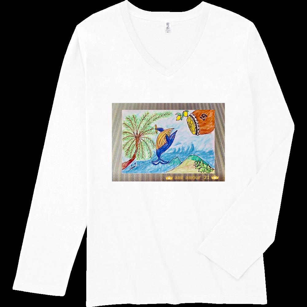 「黄八丈吠え~る(Whaleちゃん)」Vネック長袖Tシャツ スリムフィット VネックロングスリーブTシャツ