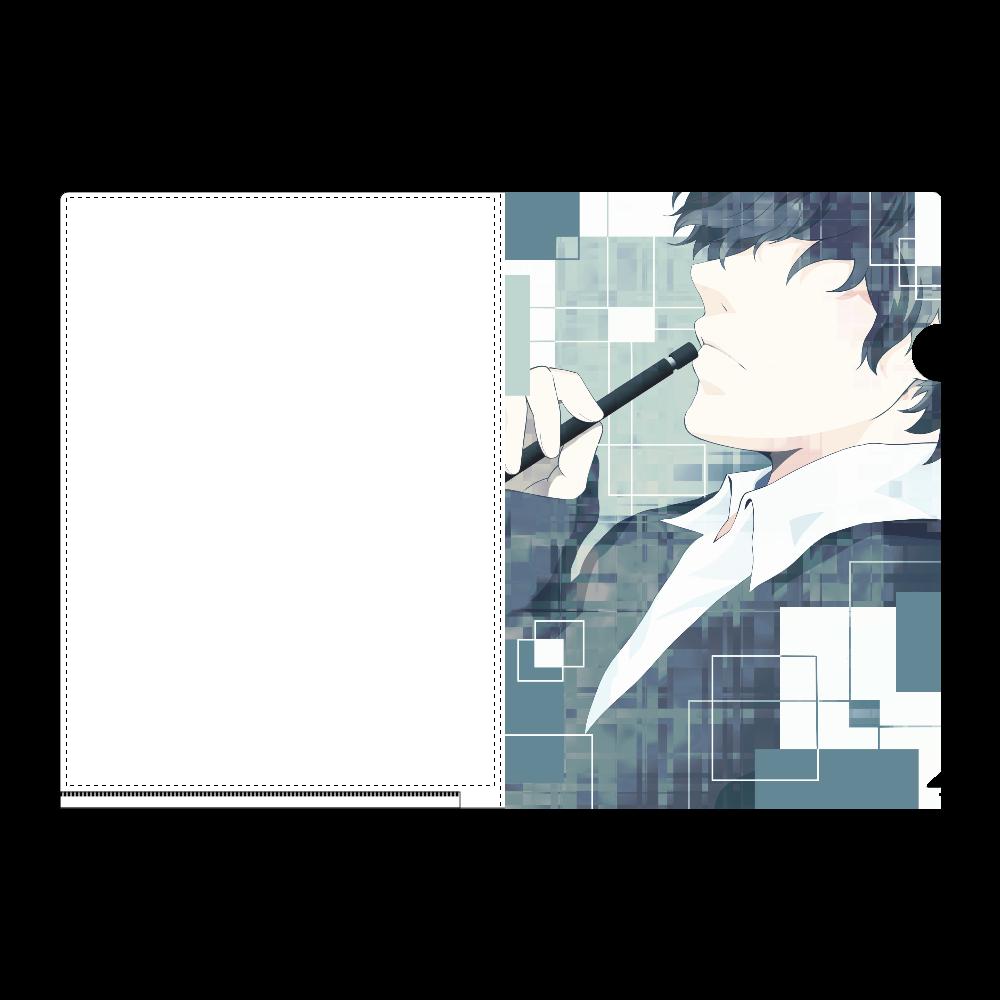 横顔男子-A- A4フルグラフィッククリアファイル