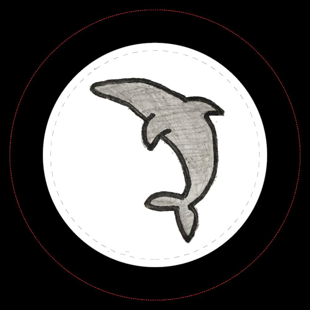 イルカ縦向缶バッチ  44㎜缶バッジ