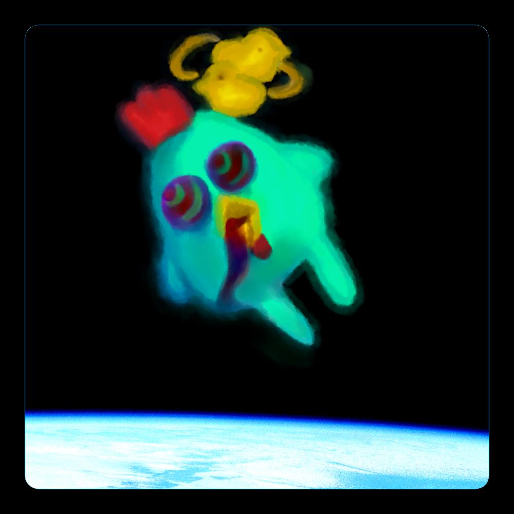 宇宙トリップにわとり アクリルコースター(四角)