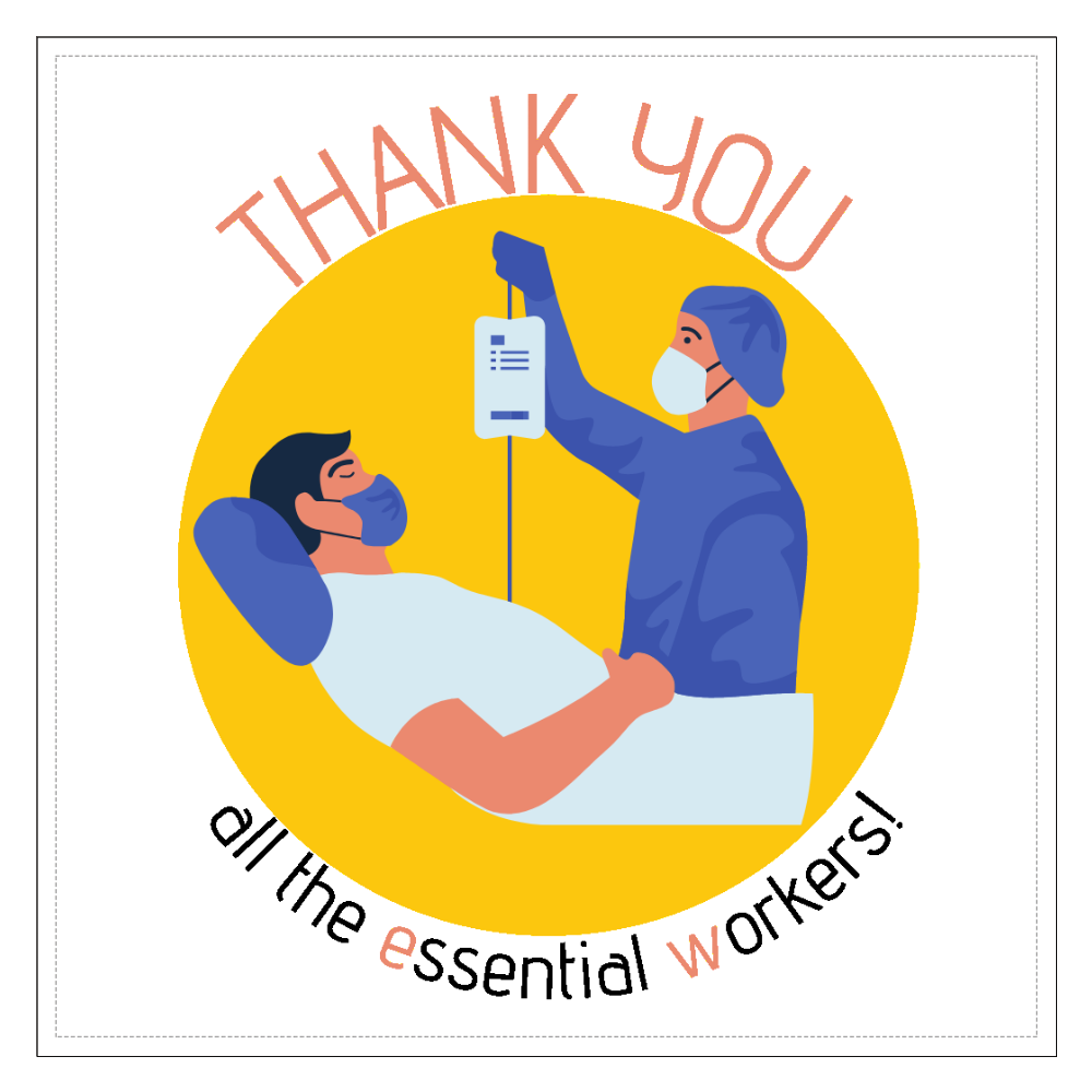 Thank youカード_Essential Workers 160mmクリアステッカー・シール