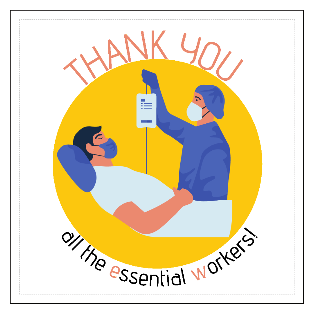 Thank youカード_Essential Workers 100mmクリアステッカー・シール