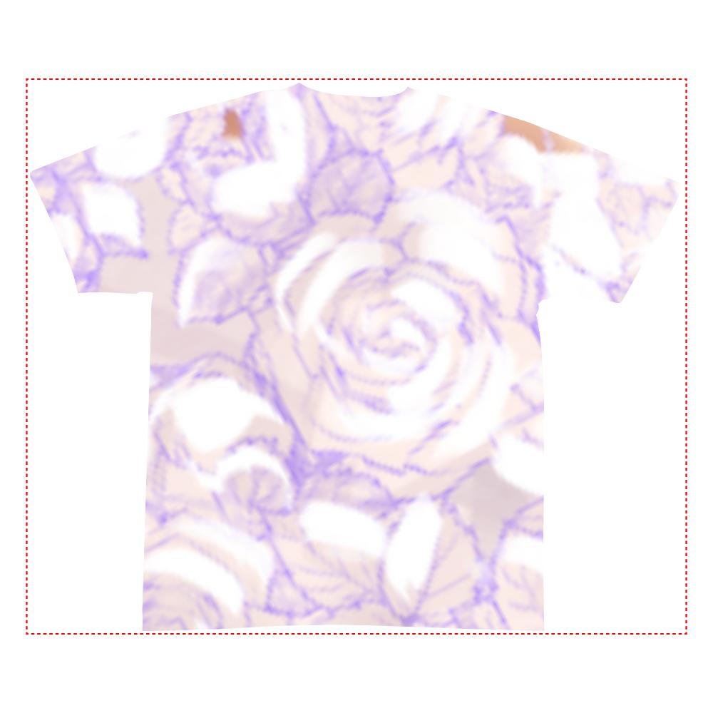 白薔薇 全面インクジェットTシャツ(S)