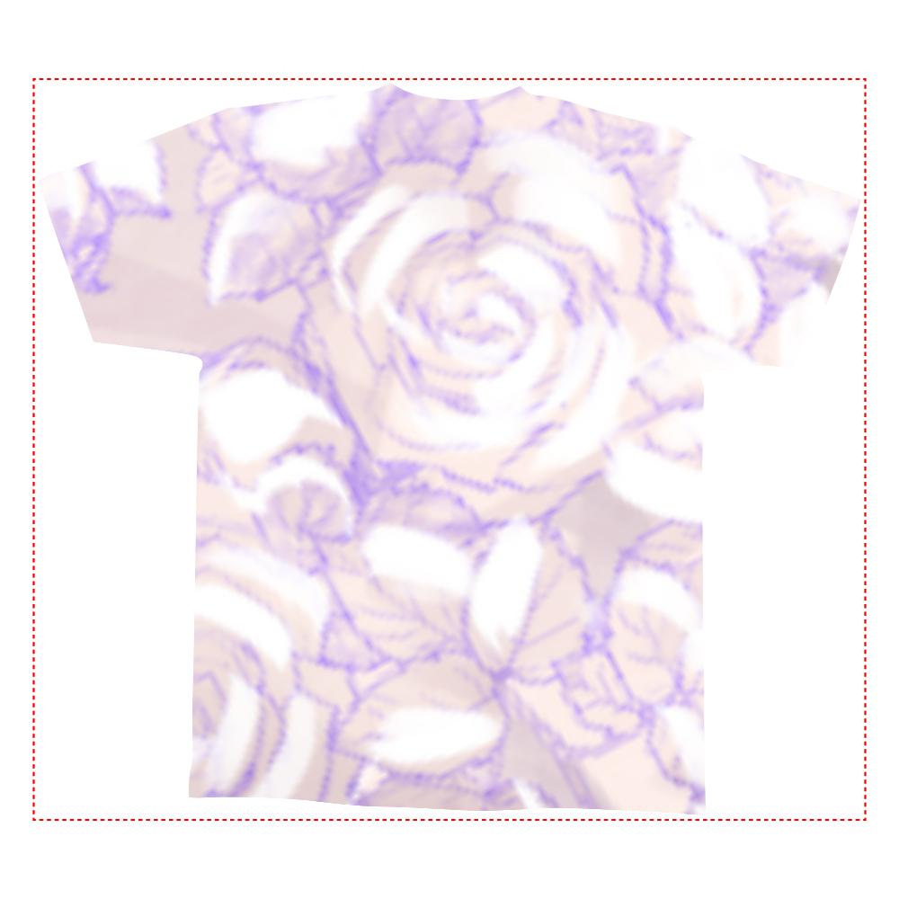 白薔薇 全面インクジェットTシャツ(M)