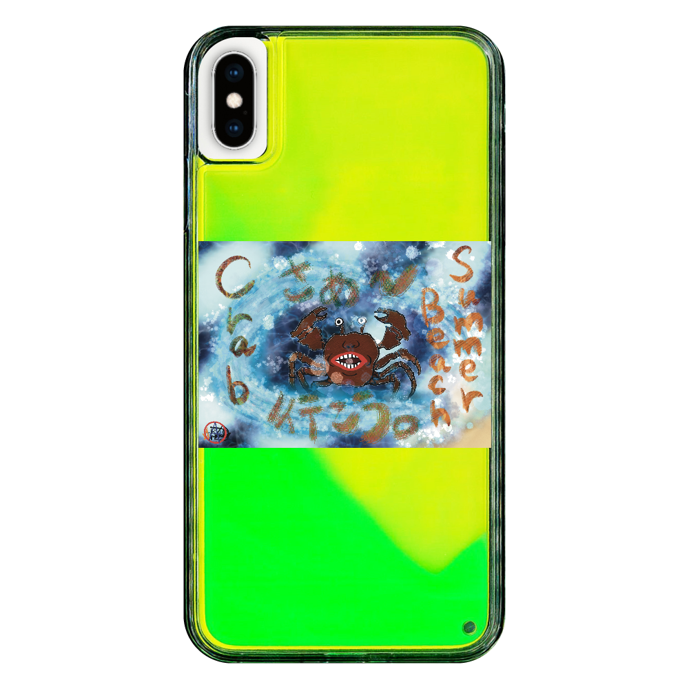 夏のビーチ「カニ」 ORILAB MARKET.Version.9 iPhoneXsMax ネオンサンドケース