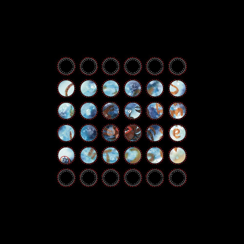 夏のビーチ「カニ」 ORILAB MARKET.Version.10 選べるホワイトフレークシール(円型36枚)100×100mm