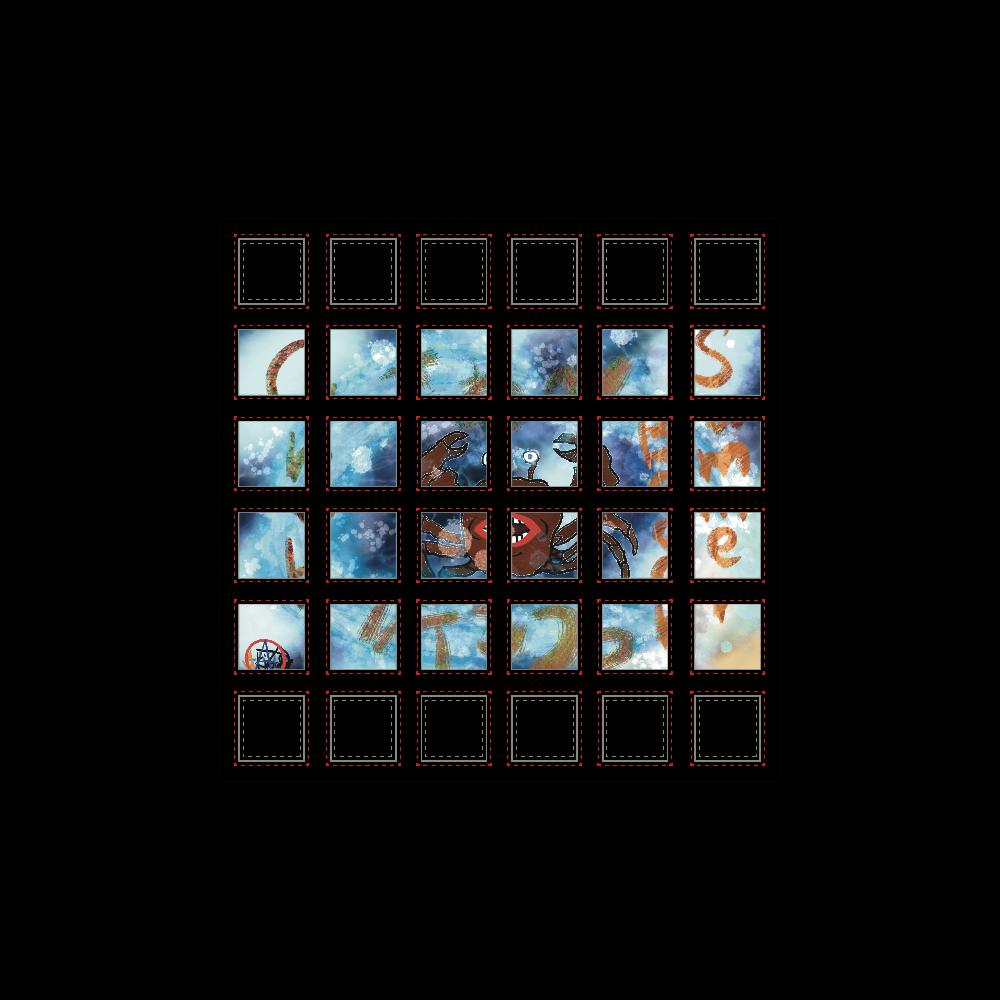 夏のビーチ「カニ」 ORILAB MARKET.Version.10 選べるホワイトフレークシール(正方形36枚)100×100mm