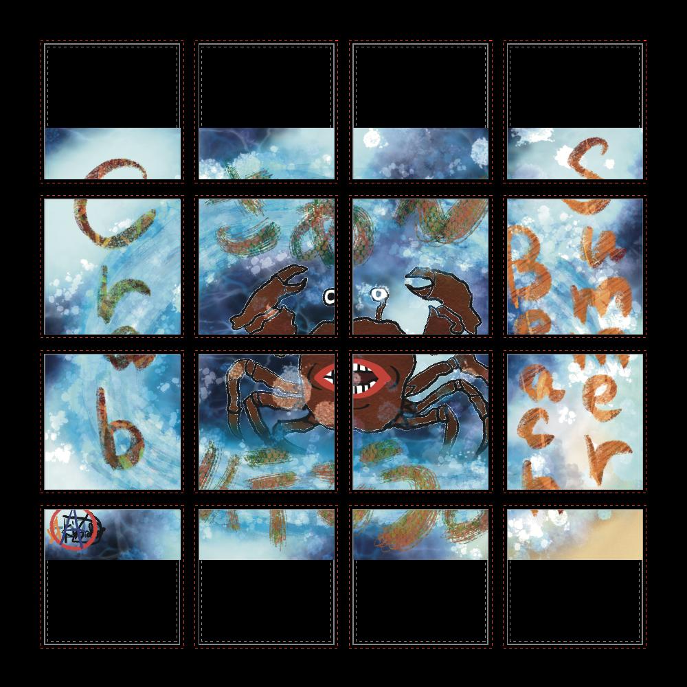 夏のビーチ「カニ」 ORILAB MARKET.Version.10 選べるホワイトフレークシール(正方形16枚)160×160mm